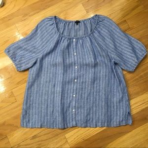 Talbots Linen Short Sleeve Blouse. Sz XL